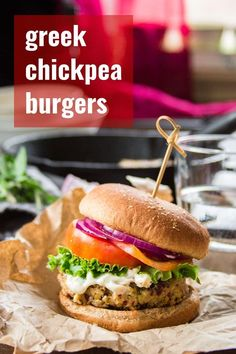 Greek Chickpea Burgers : Packed with juicy Kalamata olives, zippy lemon, and fresh herbs, these Greek-inspired vegan chickpea burgers are like a Mediterranean flavor party in your face! Easy to whip up and great for healthy a make-ahead meatless dinner. Easy Vegan Dinner, Vegan Dinner Recipes, Veg Recipes, Delicious Vegan Recipes, Greek Recipes, Vegan Dinners, Whole Food Recipes, Vegetarian Recipes, Cooking Recipes