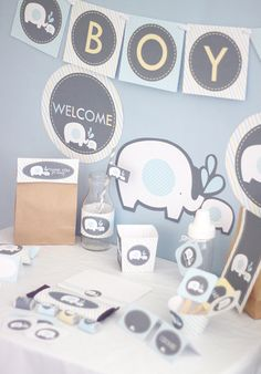 Elephant Boy Baby Shower Printable DIY Party by stockberrystudio, $12.00