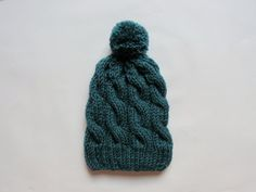 Teal Pom Pom Beanie   Knitted Beanie Pom Pom Hat by theknittingsea