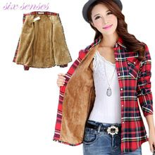 Novas mulheres outono inverno camisas quentes tamanho da camisa mais grossa de veludo camisa xadrez feminino camisa de manga comprida de algodão blusa ocasional, DJ7047(China (Mainland))