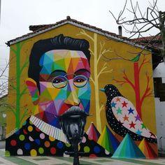 by Okuda in Polanco, Cantabria, Spain, (LP) Grafitti Street, Street Wall Art, Graffiti Wall Art, Urban Street Art, Murals Street Art, Urban Art, Wall Murals, Okuda, Classical Realism