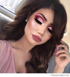 Glam bride makeup on pink - Makeup Tips Glam Makeup Look, Makeup Eye Looks, Pink Makeup, Cute Makeup, Gorgeous Makeup, Pretty Makeup, Hair Makeup, Burgundy Makeup Look, Maroon Makeup
