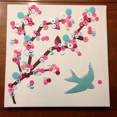 """Cherry Blossom button art on canvas, 12""""x 12"""" on Etsy, $20.00"""