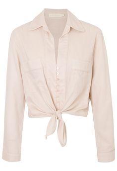 CRIS BARROS - Camisa linho cropped Alabama - rose - OQVestir