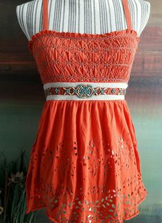 FREE PEOPLE BOHO EARTHY NATIVE WOODEN BEADED TOP LASER CUT EYELET PAISLEY S  #FreePeople #KnitTop #Casual