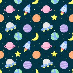 Seamless pattern cartoon space and planets Pattern Paper, Pattern Art, Pattern Design, Planet Icon, Pretty Wallpapers, Repeating Patterns, Deco, Fun Crafts, Iphone Wallpaper