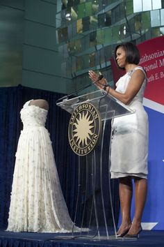 First Lady Michelle Obama inauguration dress at Smithsonian. Designer Jason Wu.