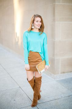 Turquoise Sweater and Faux Suede Skirt | fall style | fall fashion | styling for fall and winter | cold weather fashion | how to style a color block scarf || a lonestar state of southern