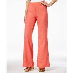 Stoosh Juniors' Linen Pant ($20) ❤ liked on Polyvore featuring pants, coral, flare leg pants, red linen pants, red trousers, red pants and stoosh pants