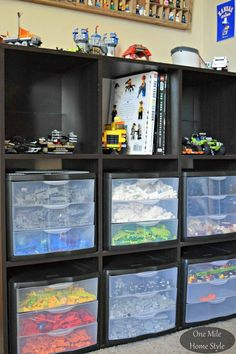 Lego Storage   http://www.onemilehomestyle.com/2015/10/simple-and-decorative-lego-storage.html?m=1