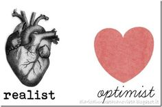 Realist--  multi-dimensional and believable. Optimist-- one dimensional and simplistic.