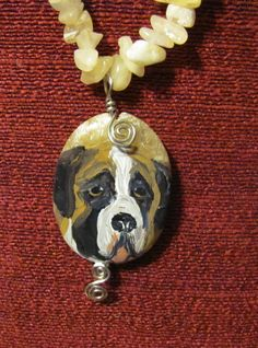 518e7d257b9b Saint Bernard painted on wrapped Calcite pendant necklace by Etsy artist   dogpainter St Bernards
