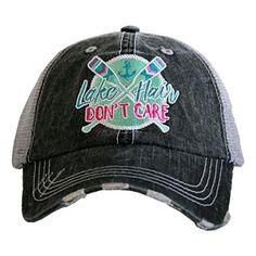 Katydid Lake Hair Don t Care Paddles Patch Women s Trucker Hat-gray mint 594df062db62