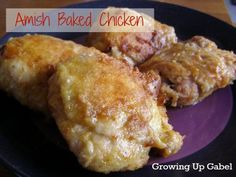 "Will make again ..holy crap this was good! Amish Baked Chicken ""You will not believe how easy baked chicken recipe is! A simple mixture of flour and spices is used to coat chicken pieces. The chicken is then baked and tastes like you spent hours frying it."""