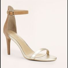 """Ann Taylor LOFT Strappy Heels Color:  Nude Size:  9 Heel:  3 1/2"""" Adjustable buckle strap. Padded footbed. Style# 370171 Lightly worn. Box included. LOFT Shoes Heels"""