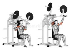Pull hammer on deltoids. Pull hammer on deltoids. Exercising for bodybuilding. Target muscles are marked in red. Initial and final steps stock illustration Upper Body Hiit Workouts, Leg Day Workouts, Weight Training Workouts, Gym Workout Chart, Workout Guide, Shoulder Press Machine, Chest Workout Routine, Workout Routines, Best Shoulder Workout