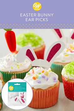 Add these bunny ears to your cupcakes to turn them into fun Easter treats. Long white ears have glittery pink inside. Cupcake Picks, Cupcake Toppers, Easter Bunny Ears, Happy Easter Everyone, Spring Desserts, Wilton Cakes, Easter Cupcakes, Cake Decorating Tools, Easter Treats