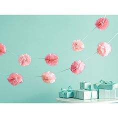Carnation-inspired garland-too cute for decorating the house or stairway!