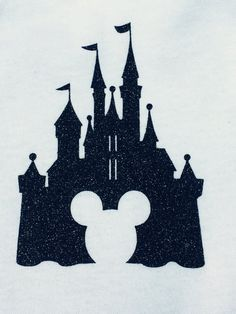 DIY heat transfer vinyl Disney castle with Mickey iron on decal- you choose color and size --glitter or plain vinyl