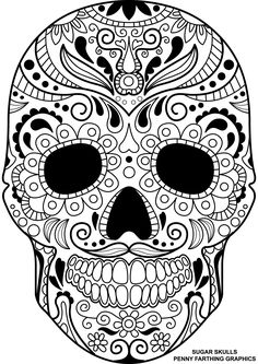 """Skull from """"Sugar Skulls - Day of the Dead"""" coloring page"""