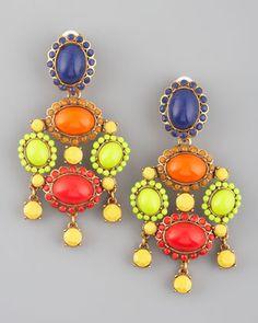 Multicolor Resin Earrings by Oscar de la Renta