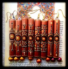 Armenian earrings made of wood with hand-painted. Ar-Mari Rubenian.