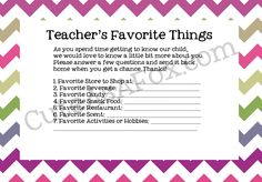 Printable Back to School Teacher Questionnaire - Find out what the teacher likes, and have gift ideas for the whole year