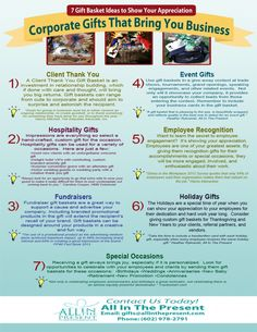 Infographic - Corporate Gifts That Bring You Business - 7 Gift Basket Ideas to Show Your Appreciation