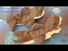 Crochet Easy Beginner Adult Shark Slipper Socks DIY Tutorial - YouTube