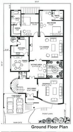 10 Marla House Plan, 2bhk House Plan, Square House Plans, Free House Plans, Model House Plan, Simple House Plans, House Layout Plans, House Plans One Story, Flat House Design