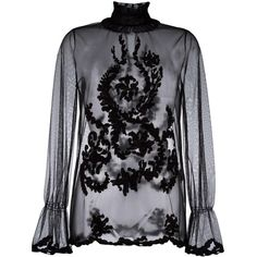 Blugirl embroidered sheer blouse ($438) ❤ liked on Polyvore featuring tops, blouses, black, sheer print blouse, print blouse, sheer blouse, embroidery blouses and see through tops