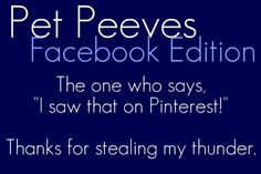 Facebook Pet Peeves oh and ps: DON'T TELL THE ANNOYING FACEBOOKERS ABOUT PINTEREST! they just might invade my paradise....I DONT NEED THAT!