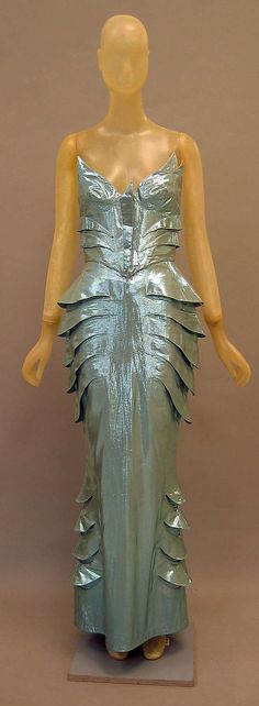 Thierry Mugler Date:spring/summer 1989 --- Yeah my dress is metalic and it has gills, what of it? o_O