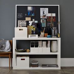 I'm a big fan of West Elm's Lacquer Office set which includes magazine butlers, three sizes of trays, and pencil cup.