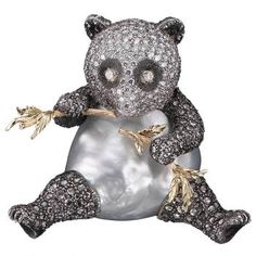 Gianmaria Buccellati, 2001. Panda Brooch with large baroque pearl