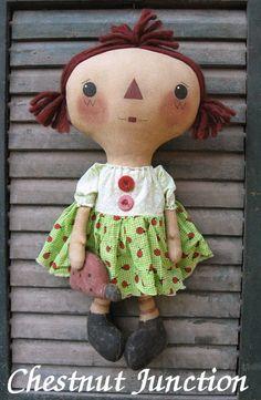 Ladybug Annie EPATTERN...primitive country raggedy cloth doll craft digital download sewing pattern...PDF...1.99