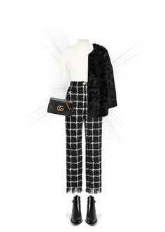 """""""Check It: Plaid"""" by fashiondiaryy ❤ liked on Polyvore featuring Valentino, Yves Saint Laurent, MANGO and Gucci"""