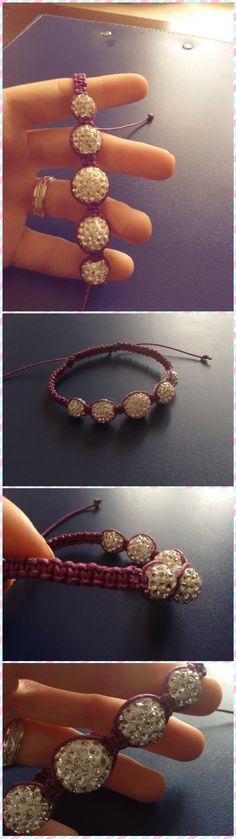 Shamballa Cotone cerato viola e perle pavè bianche