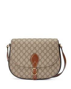 V2ZT8 Gucci GG Supreme Medium Flap Saddle Bag,  Beige/Ebony/Cuir I'm Thinking, dark denim+white tee & riding boots ;-)