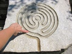 Tracing a small labyrinth at the Coastal Maine Botanical Gardens.