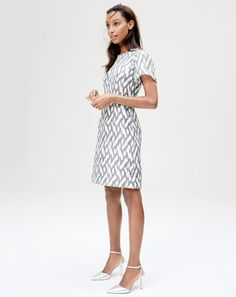 J.Crew women's flutter-sleeve dress in ikat and Elsie metallic ankle-wrap pumps. To pre-order, call 800 261 7422 or email verypersonalstylist@jcrew.com.
