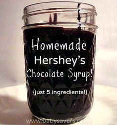 Hershey's Chocolate Syrup DIY Hershey's chocolate syrup with 5 ingredients. Made this yesterday and it tastes EXACTLY like the real thing!DIY Hershey's chocolate syrup with 5 ingredients. Made this yesterday and it tastes EXACTLY like the real thing! Chocolate Syrup Recipes, Homemade Chocolate Syrup, Mocha Coffee Syrup Recipe, Chocolate Sauce Recipe Cocoa Powder, Chocolate Milk Powder, Cocoa Powder Recipes, Cocoa Butter, Peanut Butter, Hershey Syrup