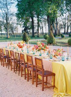 Colorful outdoor wedding reception  #wedding #weddings #weddinginspiration #engaged #aislesociety #colorfulwedding