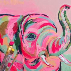 Modern, colorful art for the fun and adventurous collector. Painting Inspiration, Art Inspo, Kunst Inspo, Elephant Art, Elephant Paintings, Elephant Trunk, Mini Canvas Art, Canvas Artwork, Painting & Drawing