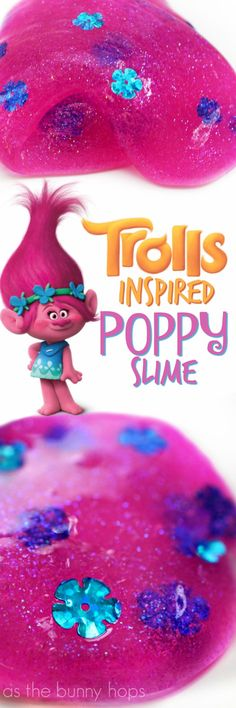 Make yourself a batch of hot pink, glittery, Trolls-inspired Poppy slime! Use the recipe included or use your favorite slime base plus a few additions. It makes a perfect craft for a Trolls-themed party!