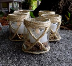 Set of 5 Candle Holders Rustic Glass, Burlap and Sisal Hand Decorated Flower Vases Wedding Shower Decorations, Party Decoration, Table Decorations, Rustic Candle Holders, Candle Holders Wedding, Beach Baby Showers, Mason Jar Candles, Glass Candle, Votive Candles