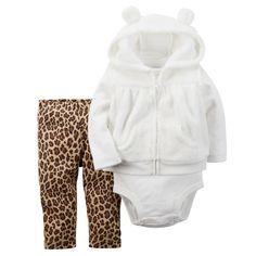 Baby Girl 3-Piece Hooded Velboa Vest Set | Carters.com