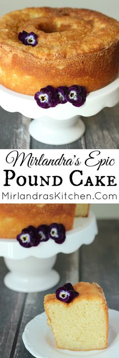 """Mirlandra's Epic Pound Cake - """"After six months of baking this is my winning recipe for moist, rich, tender pound cake. Try it with berries, warm chocolate sauce or sweet whipped cream! Cupcakes, Cupcake Cakes, Just Desserts, Dessert Recipes, Snack Recipes, Snacks, Holiday Desserts, Sweet Desserts, Holiday Recipes"""