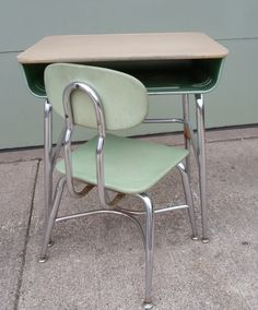 Vintage 1966 Mid Century Modern Child's School Desk and Chair, Green, Chrome, Made By Corex, Metal and Wood
