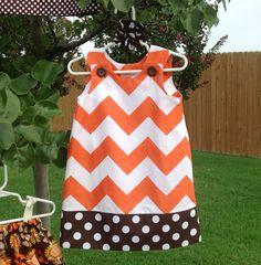Halloween Dress Orange Large Chevron and by SewSusanCreations, $25.00